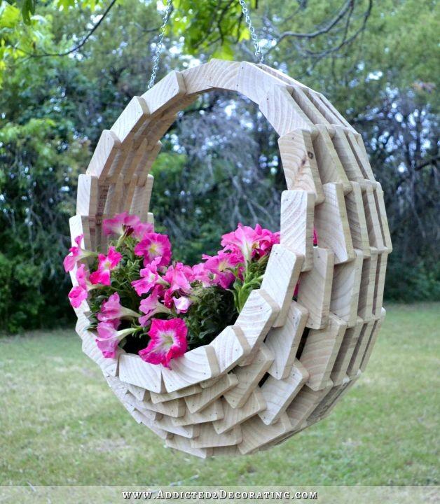 Flower Baskets Decoration : Super easy pieced wood diy hanging flower basket