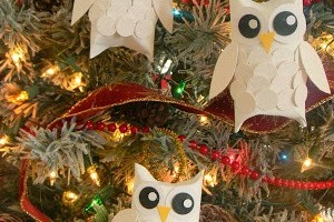 glitter owl ornaments