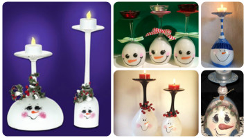 snowman wine glass candle holders